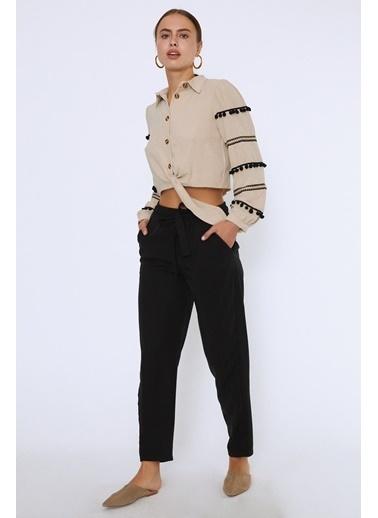 Quzu Beli Lastikli Kuşaklı Casual Pantolon Siyah